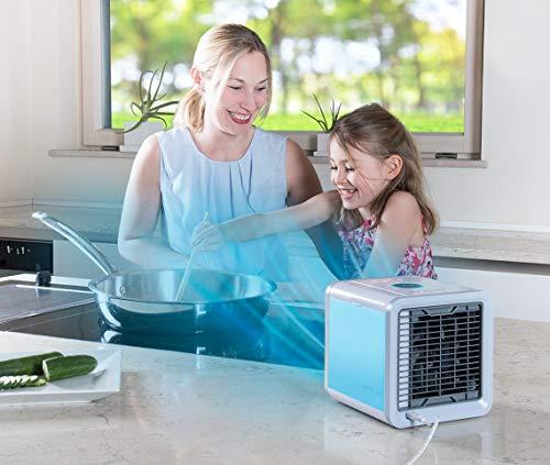 Mediashop Arctic Air Verdunstungsgerät Lufterfrischer mobiler Luftkühler ✓ mit USB Anschluß und Netzstecker ✓ Hydro-Chill Technologie ✓ 3 Kühlstufen ✓ 7 Stimmungslichter | Das Original aus dem TV