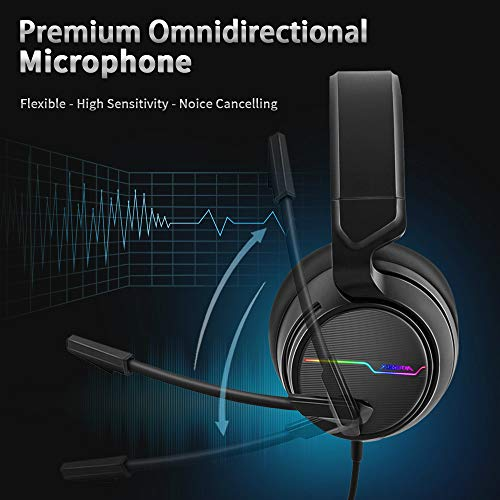 Jeecoo Stereo Gaming Headset for PS4, Xbox One S - Noise Cancelling Over Ear Headphones with Micropho   ne - LED Light Soft Earmuffs Bass Surround Compatible with Xbox One PC Laptop Nintendo Switch Games