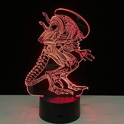 Lámpara De Ilusión 3D Luz De Noche Led Alien Vs Predator Mood 7 Cambio De Colores Con Cable Usb Amigos Regalo De Cumpleaños Decoración Para El Hogar