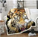 BEDJFH Animal Salvaje Amarillo 3D Sherpa Manta Tigre Manta de Felpa 180cm x 200cm Manta de Lana Sobrecama para Baby Shower Mantas para Cama Sofá Dormitorio Vivero