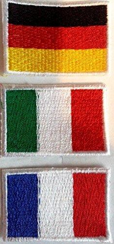 b2see Flaggen Aufbügler Aufnäher für Jacken Jeans Kleidung Bügelbilder Flicken Stoff Patch Kleider Aufnäher Patches zum aufbügeln  Deutschland Frankreich Italien 3 er Set je 3 x 4 ,5 cm
