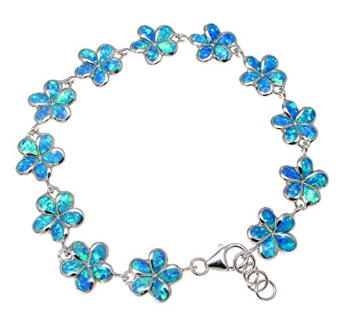 Arthur's Jewelry 925 Sterling Silver Inlay Synthetic Blue Opal 10mm Hawaiian Plumeria Flower Bracelet 7