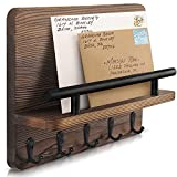 Decorative Key Hanging Rack with 5 Sturdy Hooks – Easy Install Key and Mail Holder for Wall Mount...
