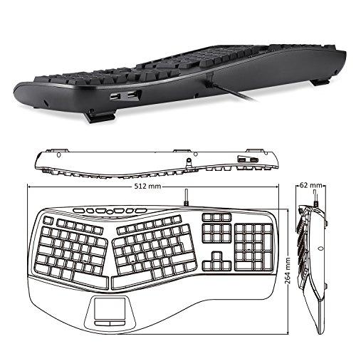 Perixx PERIBOARD-507 II, ergonomische Tastatur mit Touchpad und 2X USB Hubs, USB-Kabel, schwarz