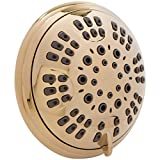 6 Function Luxury Shower Head - Amazing High Pressure, Wall Mount, Adjustable Showerhead - Indoor And Outdoor Modern Bath Spa Fixture, 2.5 GPM - Polished Brass