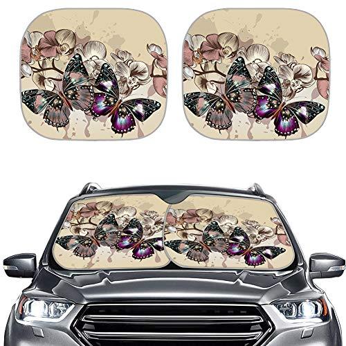 Hugding Parasol de 2 piezas con diseño floral de mariposa para parabrisas, ajuste universal, bloquea el 99% de los rayos UV, buena protección para la mayoría de los sedanes, SUV, camiones, coches