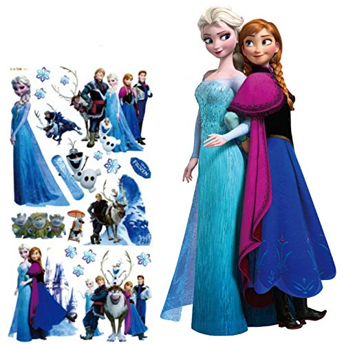 Kibi Wandtattoo Frozen Wandtattoo Eiskönigin (Frozen) Elsa und Anna Wandsticker Frozen Disney für Kinderzimmer Living Room Removable Prinzessin Elsa Anna Wandtattoo Kinderzimmer Frozen Olaf