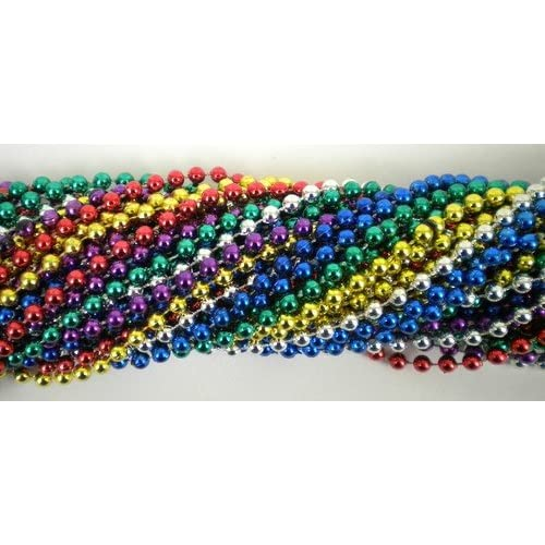 33 Inch 07mm Round Metallic 6 Color Mardi Gras Beads - 6 Dozen (72 Necklaces