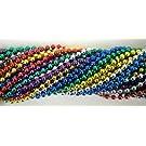 Mardi Gras Spot 6D336COL 33 Inch 07mm Round Metallic 6 Color Mardi Gras Beads - 6 Dozen (72 Necklaces)