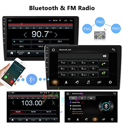 Hikity Android Double Din Car Stereo with GPS Navigation 9 Inch Touch Screen Radio Bluetooth FM Radio Receiver Support WiFi Connect Mirror Link for Phone with Dual USB Input + Backup Camera