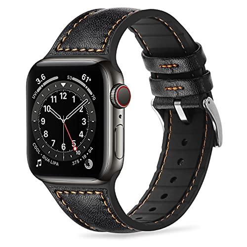 Tasikar Compatibile per Cinturino Apple Watch 42 mm 44 mm Cinturini di Sportivo in Vera Pelle e Silicone Morbido per Apple Watch SE Serie 6/5/4 Serie 3/2/1 - (42mm 44mm, Nero)