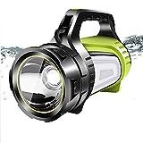 yunyu Faro da Esterno Impermeabile, Torcia a LED Ricaricabile USB 6 modalità di Illuminazione con Luce Laterale Faro di Ricerca Super Luminoso per Campeggio, Ricerca all'aperto, ECC.