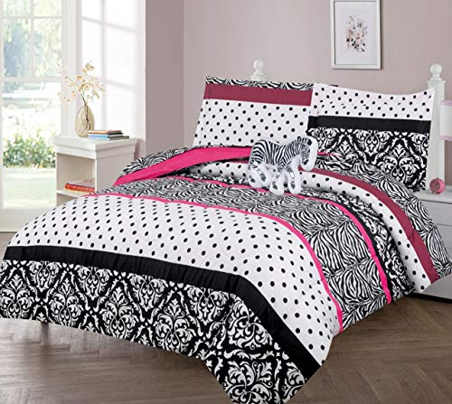 GorgeousHomeLinen Kids 6pc White Black Zebra Polka Dot Striped Vintage Floral Design Twin Bed in Bag Comforter with Matching Sheet Set with Pillow Friend for Girls