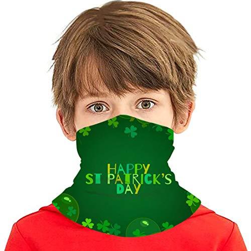 Feliz día de San Patricio Globos de texto Trébol Versátil Multifunción Sombreros Polaina para el cuello Pasamontañas Forro para casco Cubierta facial para montar para niños al aire libre Protección UV