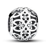 Colgante calado de flores de trébol de la suerte de plata fina 925 se ajusta , compatible con pulseras europeas
