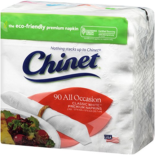 Chinet Classic All Occasion 2 Ply Napkins, White, 90 ct (Pack of 12)