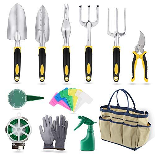 Herramientas de Jardín 12Pcs Kit de Jardinería Juegos de Herramientas con Organizador Bolsa