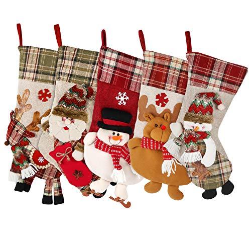 ilauke Christmas Stocking for Kids - 18 inch Burlap Felt Christmas Stocking Set of 5, Personalized Christmas Stocking Including Elk Santa Christmas Tree