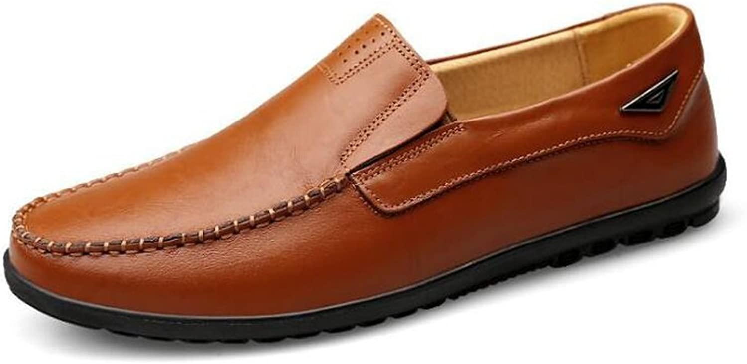Beauqueen Mens Loafer Leather Casual Flat shoes Round Toe Low Top Cozy Ventilate Business Driving shoes Autumn Work shoes 37-47