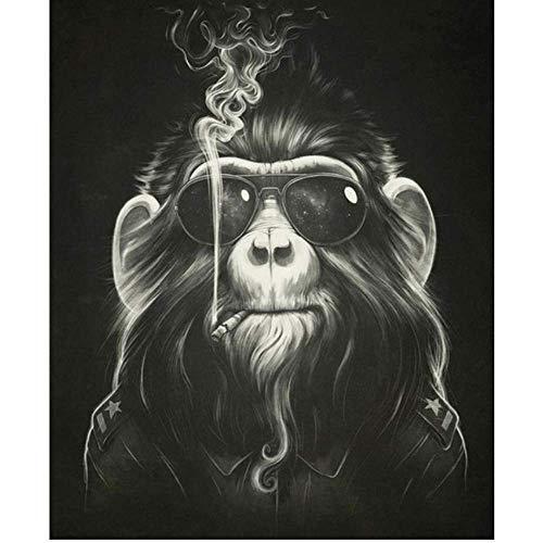 posterjiang Cuadro en Lienzo Carteles e Impresiones Bad Monkey Cartel Animal en Blanco y Negro Mono fumando con Gafas Arte de Pared C, 50x70cm