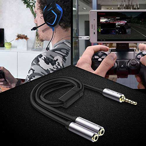 MillSO Headset Adapter CTIA 3.5mm Y Splitter Headphone Jack Splitter Adapter (3.5mm 4 Pole TRRS Male to 2 x 3 Pole Female) Compatible for Xbox One, PS4, PC, Tablet, Laptops, Phone - 12inch/30CM Gray