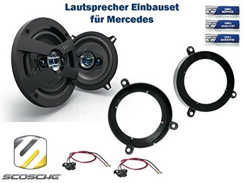 NIQ Mercedes CLC-Klasse (CL203) Lautsprecher Einbauset (Türe Heck oder Seitenverkleidung) inkl. Scosche HD5254 130mm 3 Wege Triaxial Lautsprecher 200Watt