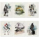 Mandalorian Poster Set of 6 - UN-FRAMED 8x10 Inch - Baby Yoda Poster Room Decor - Star Wars Posters Bedroom Art Decor for Wall - Grogu The Child Poster
