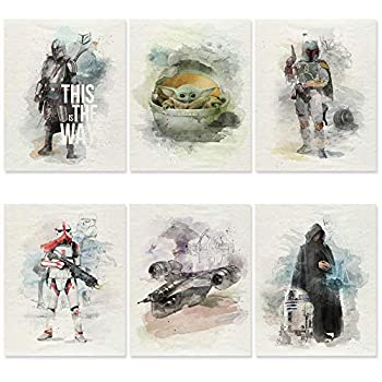 Mandalorian Poster Set of 6 - UNFRAMED 8x10 Inch - Baby Yoda Poster Room Decor - Star Wars Posters Bedroom Art Decor for Wall - Grogu The Child Poster