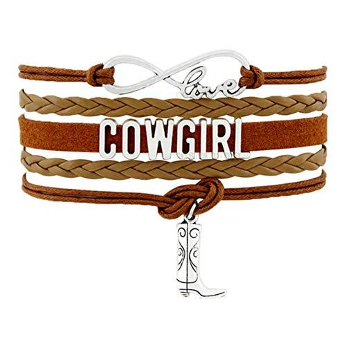 CXKNB Land Junge Mädchen Cowboy Cowgirl Hut Stiefel Unendlichkeit Charme Armbänder Antik Silber Handgemachte Verstellbare Schmuck Frauen Männer Geschenk