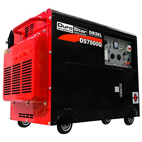 DuroStar DS7000Q 6,500 Watt Enclosed Portable Diesel Generator, Black/Red