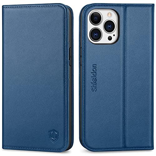 SHIELDON Cover per iPhone 13 PRO 5G, Custodia Vera Pelle Portafoglio Kickstand Slot per Schede [RFID Blocking]...