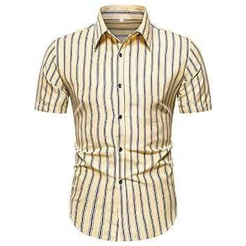 kiuseg Fashion Button Downs Shirts Men s Summer Casual Printed Short Sleeve Top Blouse Slim Fit
