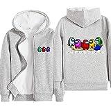 LIGHTOP Among US - Sudadera para niños, camiseta con capucha, gris y negro, sudaderas con personajes, ropa de niña de algodón, ideal como regalo de cumpleaños para niño (7-8 años, gris 7)