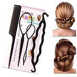 Sanfiyya 4 unids/set profesional herramienta de peinado del pelo trenzado accesorios ponytail Maker moño haciendo kit para todo el cabello