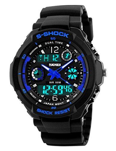 SKMEI Wasserdicht Multifunktions-Digitalwider Schock Militärsport Uhr, blau