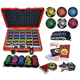 casinoite Dracarys Luxury 500 Pcs Poker Chips Set 3 Headed Dragon | 45mm Casino Style Chip | 10 Plaques, Red Hard Case, 2 Plastic Cards Decks, 5 Trays, All in, Dealer, Big Blind, Small Blind Buttons