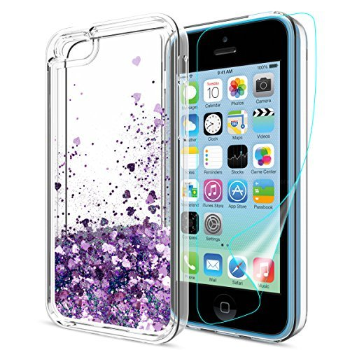 iPhone 5C Case with HD Screen Protector for Girl,Atump[Love Heart Series] Liquid Glitter Bling Sparkly Soft TPU Bumper Clear Quicksand Protective Shock-Absorption Phone Cover for iPhone 5C Purple