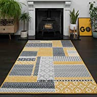 Milan Ochre Mustard Yellow Grey Patchwork Squares Traditional Lounge Living Room Rug 80cm x 150cm