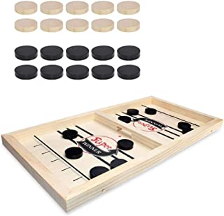 BABYCAT Slingshot Board Game, Wooden Desktop Hockey Game Fast Sling Puck Game for Kids and Adults, Parent-Child Interactive Game Set for Family Party (Big Size)