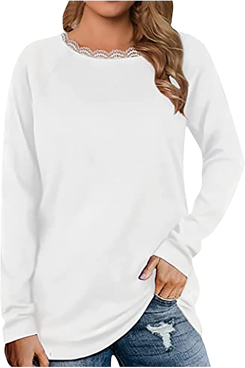 Womens Tops Lace Splicing O-Neck Long Sleeve Solid Color Casual Loose Base Blouses Autumn Winter Comfy Pullover