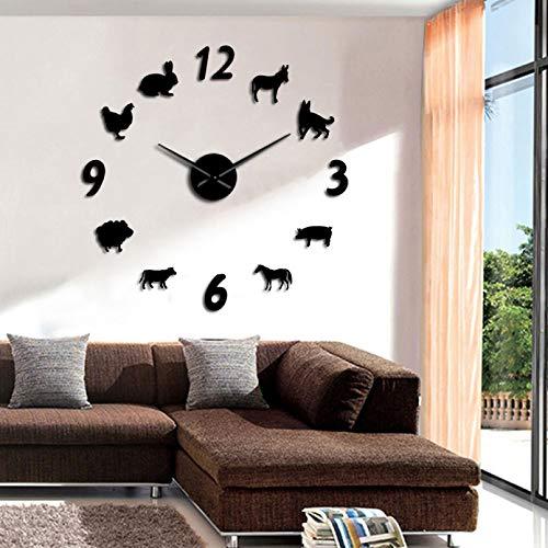 YQMJLF Reloj Pared DIY 3D Grande Animales del Bosque DIY Reloj Pared Gigante habitación Chico Reloj Pared Decorativo Bosque Granja casa decoración Pared sin Marco Reloj Pared Grande Negro