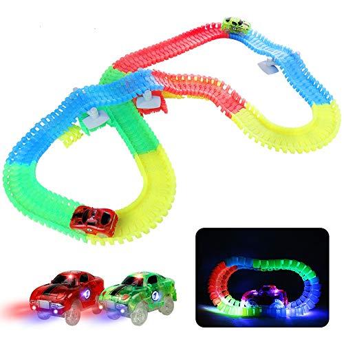 Fajiabao Pista Macchinine Giocattolo Bambini Auto - Luminosa Elettriche LED Flessibile Colorate Carrera Compreso 240 Pezzi con 2 Glow Cars Macchinine Pasqua Giocattolo per 3 4 5 6 Anni