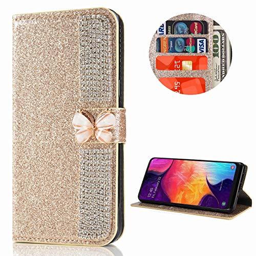 Miagon Hülle Glitzer für Samsung Galaxy S20 Ultra,Diamant Strass Schmetterling Kette PU Leder Handyhülle Ständer Funktion Schutzhülle Brieftasche Cover,Gold