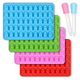 homEdge Silicone Gummy Bear Candy Molds, Set of 4 Packs Non Stick Food