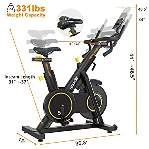 SNODE Stationary Spin Bike S9- Magnetic Exercise Bike for Home Use, Professional Cycling Bike with 331 lbs Weight Capacity, Digital Monitoring, Multifunctional Handlebars, Adjustable Seat for Crossfit Workout