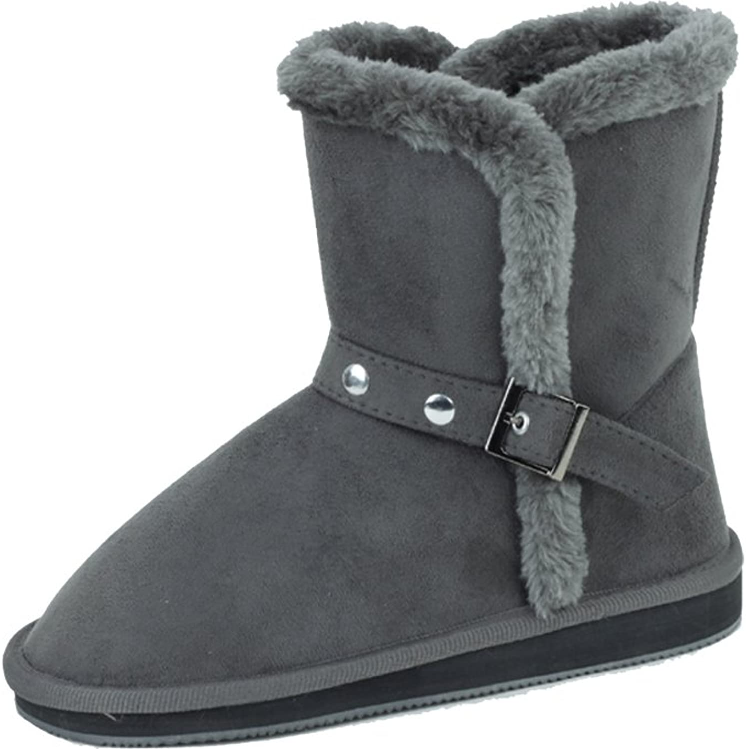 Sunville New Women's Short Grey Faux Suede Boots Size 11