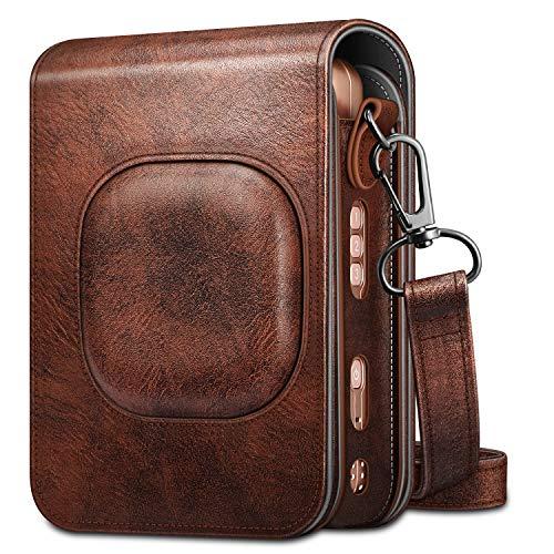 Fintie Tasche für Fujifilm Instax Mini LiPlay hybrid Sofortbildkamera - Premium Schutzhülle Reise Kameratasche Hülle Abdeckung mit abnehmbaren Riemen, Braun