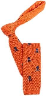 "Men's Skinny Knit Ties Novelty Polka Dots Skulls Embroidered Pattern Designer Necktie 2"" Flat-end Smart Sock Ties"
