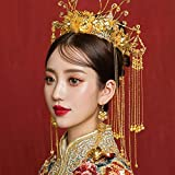 matrimonio sposa cinese tradizionale accessori per capelli copricapo da sposa tiara d'oro corona rotonda gioielli per capelli ornamenti donna