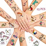 25 PCS Kids Tattoos, Unicorn Themed Cute Cartoon Temporary Tattoos for Boys Girls Kids Birthday Party Bag Filler, Waterproof Body Art Sticker Toys